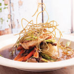 Grilled Mahi-Mahi with Baby Bok Choy, Carrots, Mushrooms, Miso Broth and Crispy Noodles