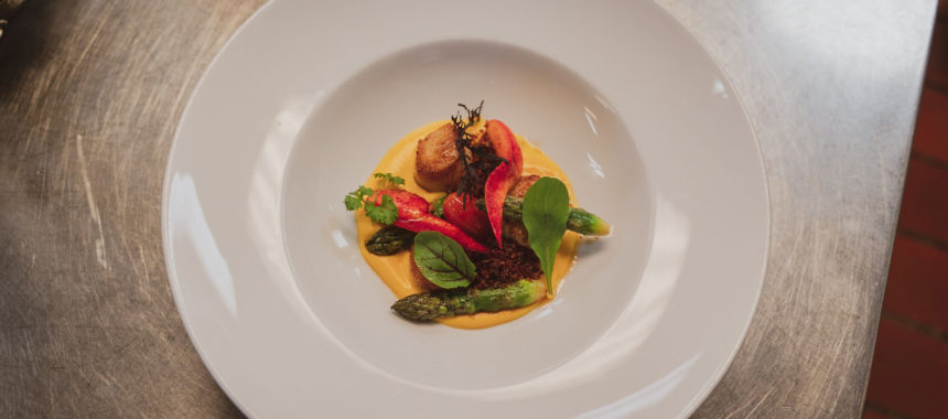 Pan-Seared Scallops with Butternut Squash, Asparagus, Lobster Claw and Cherry Tomatoes